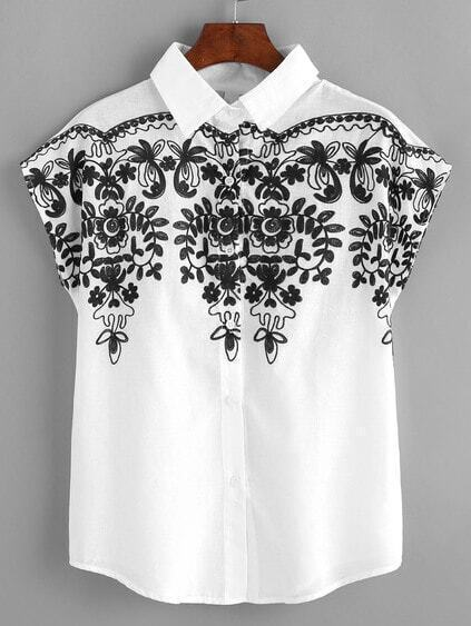 Cap Sleeve Embroidered Shirt