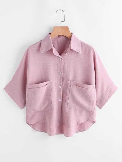High Low Dual Pockets Front Shirt