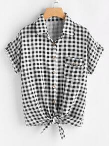 Gingham Print Knot Front Cuffed Shirt With Chest Pocket