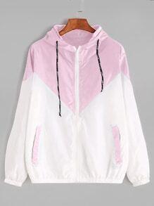 Chaqueta de capucha con cremallera en color block