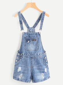 Button Detail Distress Cuffed Pinafore Romper