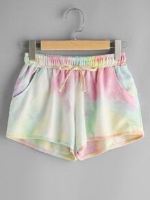 Water Color Elastic Drawstring Waist Shorts