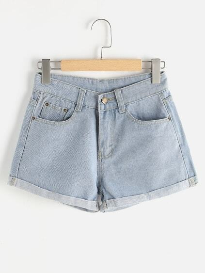 Distressed Back Cuffed Shorts