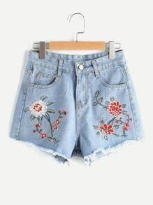 Floral Embroidered Destroyed Back Fray Hem Shorts