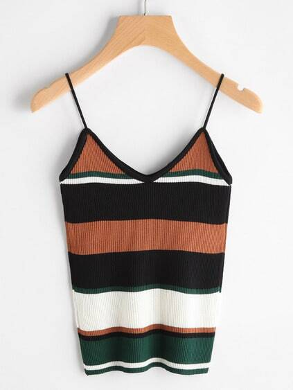Farbblock Ribbed Cami Top