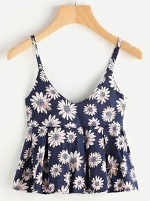 Daisy Print Pleated Cami Top