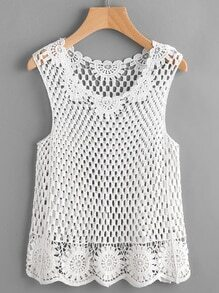 Crochet Lace Hollow Out Beach Tank Top
