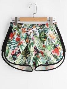 Floral Print Dolphin Hem Drawstring Sports Shorts