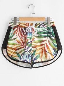 Leaf Print Dolphin Hem Drawstring Sports Shorts