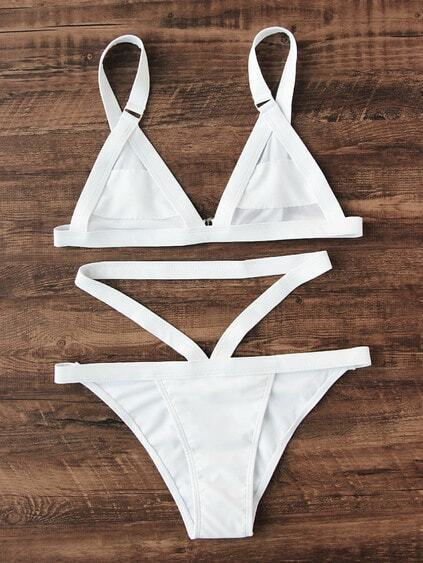 Conjunto de bikini triangular con correas