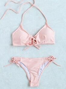 Buy Ladder Cutout Lace Bikini Set