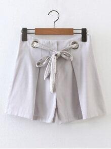 Eyelet Lace Up Waist Shorts