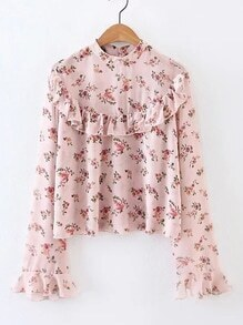 Bell Sleeve Ruffle Trim Floral Blouse