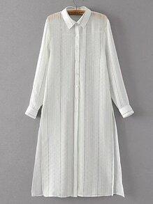 Pinstripe High Split Side Shirt Dress