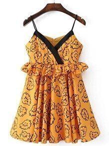 Ruffle Trim Zipper Back Cami Dress