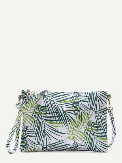 Leaf Print PU Clutch Bag