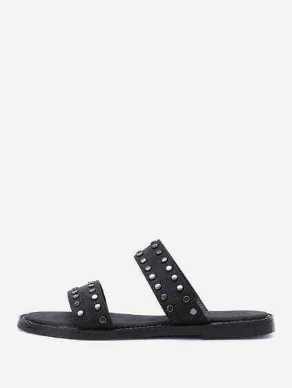 Open Toe PU Studded Slippers