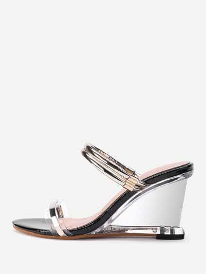 Open Toe Strappy Clear Wedges