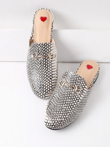 Mixed Print Loafer Maultiere