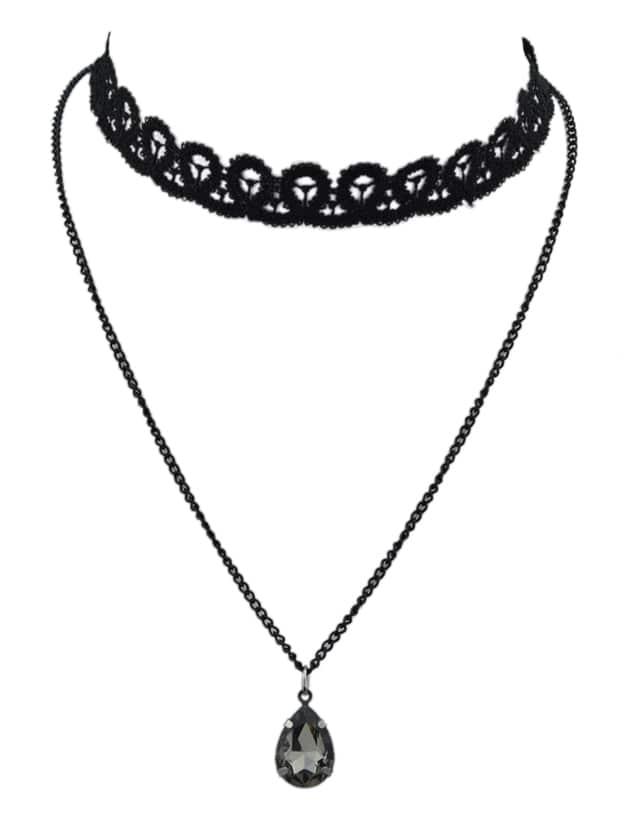Black Chain Lace Choker Necklace
