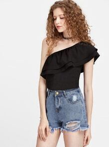 One Shoulder Layered Frill Trim Top