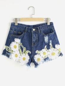Sunflower Appliques Ripped Frayed Hem Denim Shorts