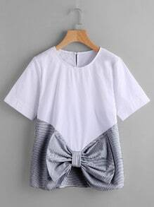 Contrast Striped Keyhole Back Bow Front Top