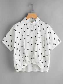 Textured Dots Print Dip Hem Shirt