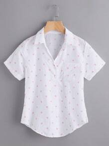 Polka Dot Curved Hem Button Placket Blouse With Chest Pocket