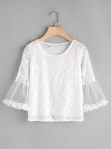 Fluted Sleeve Sheer Insert Lace Top