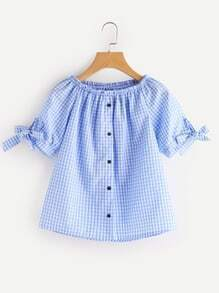 Boat Neckline Gingham Print Button Placket Blouse With Bow