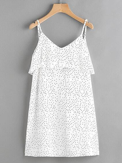 Textured Dots Print Open V Back Layered Cami Dress