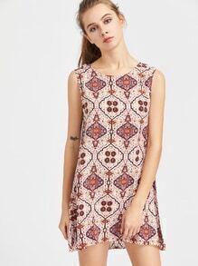 Vestido de espalda abierta con cordón con estampado aztaca