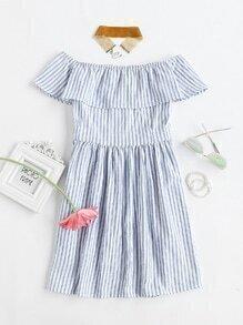Flounce Layered Vertical Stripe Open Back Smock Dress
