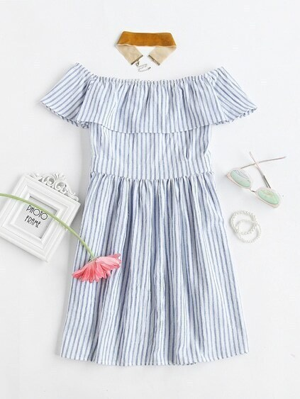 Flounce Layered Vertical Stripe Open Back Smock Dress