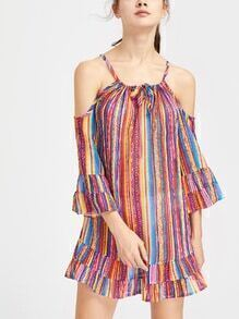 Open Shoulder Striped Self Tie Front Tiered Dress
