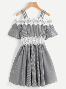 Open Shoulder Trumpet Sleeve Pinstriped Contrast Lace Dress