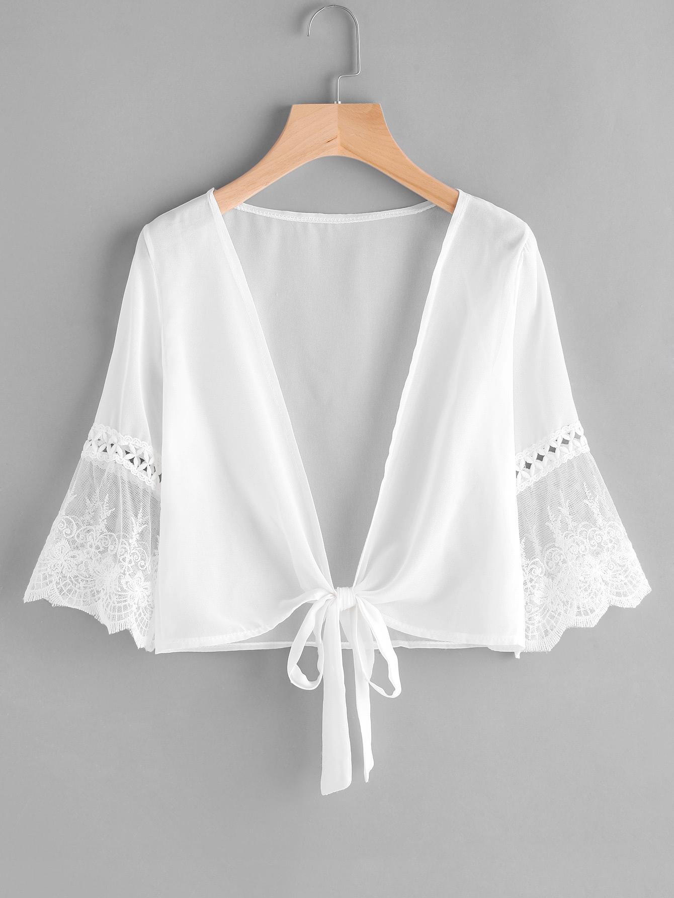 Contrast Lace Fluted Sleeve Self Tie Chiffon Kimono