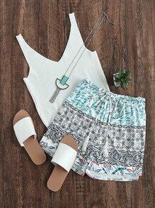 Shorts de cintura con cordón con estampado azteca