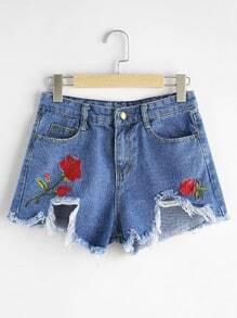 Shorts bordado roto de borde crudo