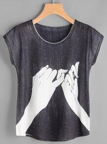 Camiseta estampada de mano de manga de casquillo