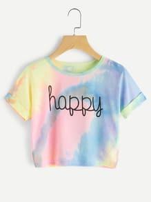 Tee-shirt versicolore imprimé des lettres