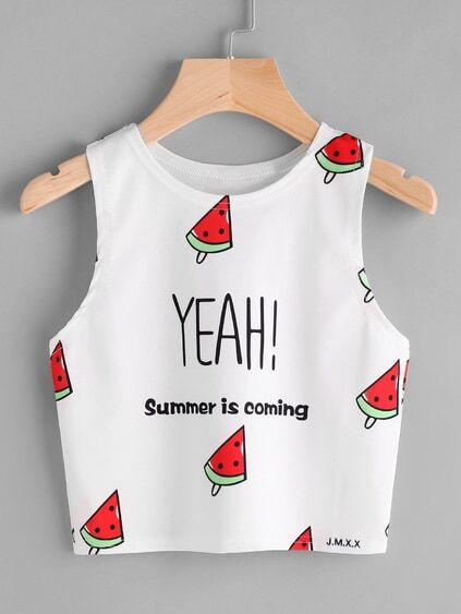 Watermelon And Slogan Print Tank Top