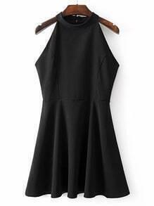 Halterneck Tie Back Sleeveless A Line Dress