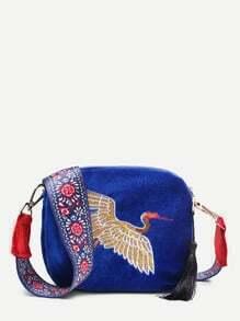 Crane Embroidery Design Crossbody Bag