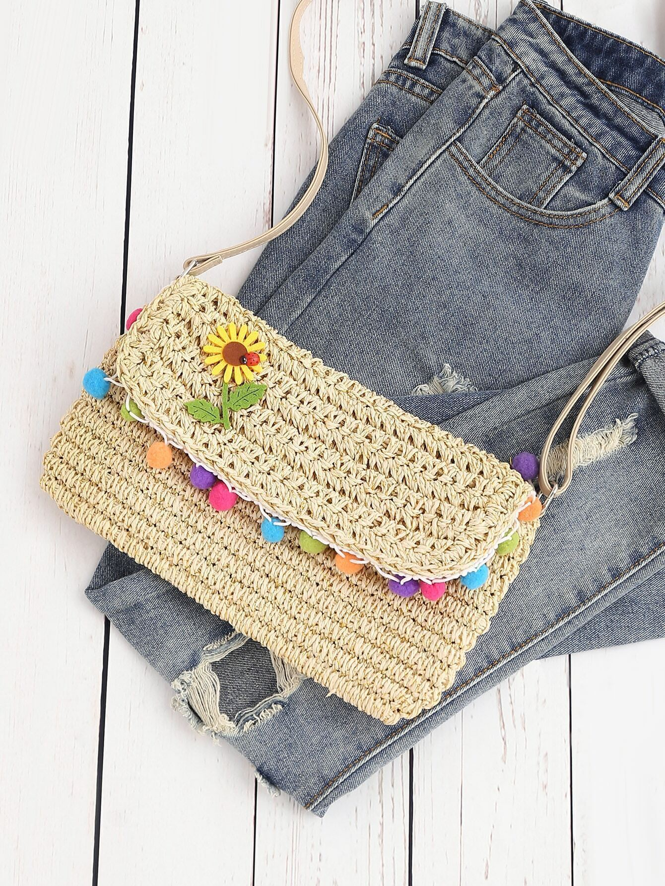Buy Flower Detail Straw Crossbody Bag Pompom At ROMWE - Chinese Goods Catalog - ChinaPrices.net