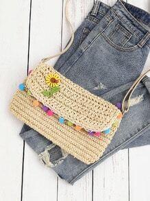 Flower Detail Straw Crossbody Bag With Pompom