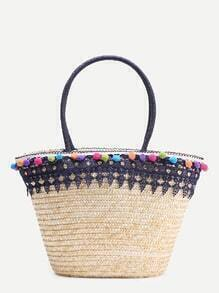 Lace Crochet Design Tote Bag With Pompom