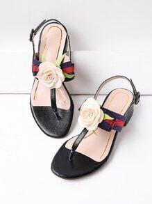 Flower Embellished Thong Falt Sandals