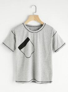 Camiseta de puntada con bolsillo falso